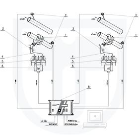 2x měření tepla předaného vodou s měřením průtoku v přívodním nebo vratném potrubí clonovým měřičem pomocí INMAT 57D