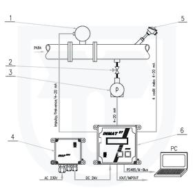 Měření tepla předaného parou, přímá metoda, vírový průtokoměr