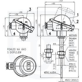 331 - Snímač teploty termoelektrický do jímky DIN bez převodníku nebo s převodníkem